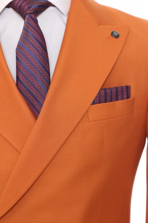Orange Double Breasted Men Suit