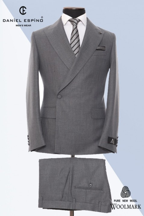 Grey Double Breasted Men Suit