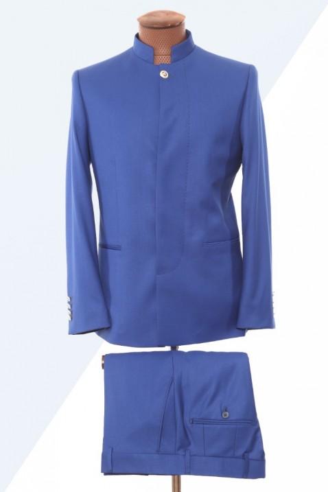 Blue high collar men's suit