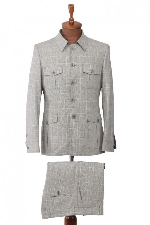 Grey Patterned Safari Men's Suit