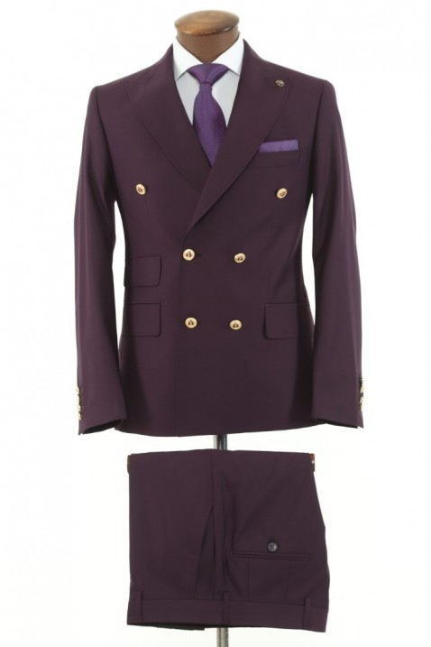 Purple Double Breasted Men Suit