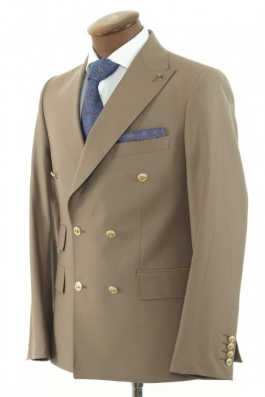 Beige Double Breasted Men Suit
