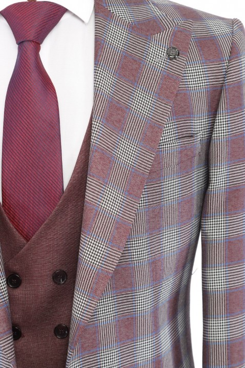Maroon Combined Bag Pocketed Men's Suit With Waistcoat