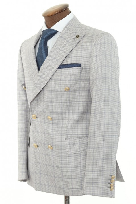 Light grey Double Breasted Men Suit