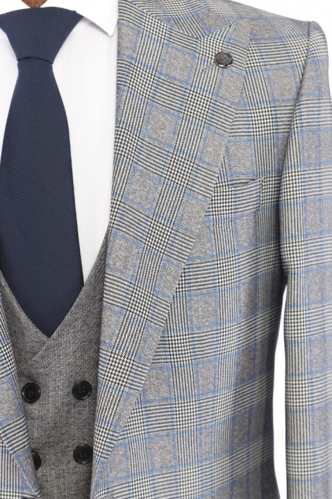 Grey Combined Bag Pocketed Men's Suit With Waistcoat