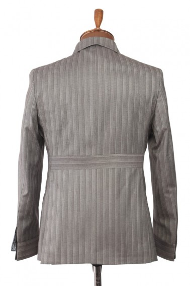 Grey Striped Safari Men's Suit