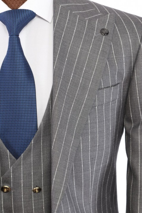 Grey Suit with Bag Pockets and Waistcoat