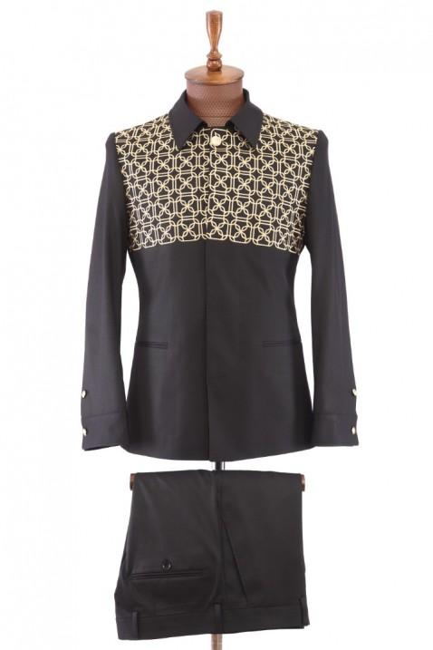 Black Embroidered Safari Men's Suit