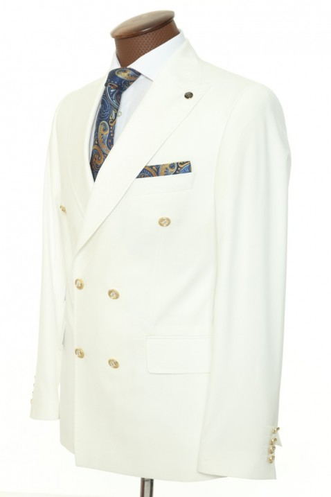 White Double Breasted Men Suit