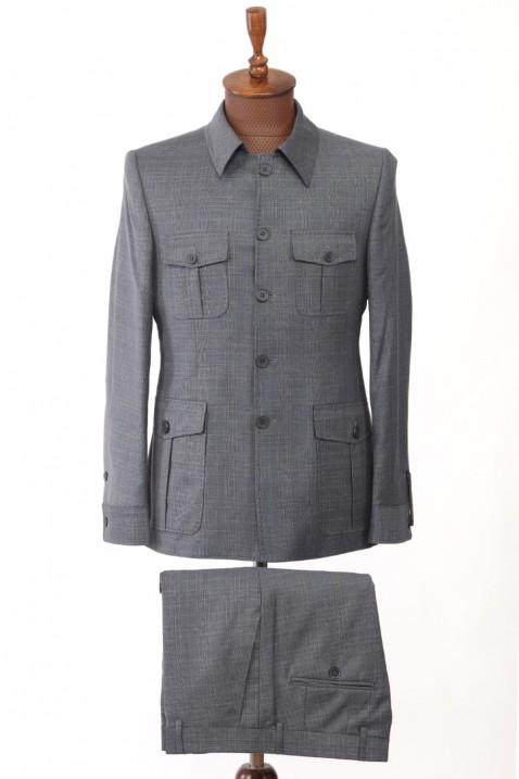 Light Blue Patterned Safari Men's Suit