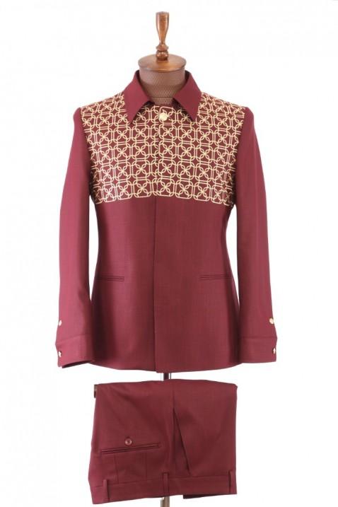 Maroon Embroidered Safari Men's Suit