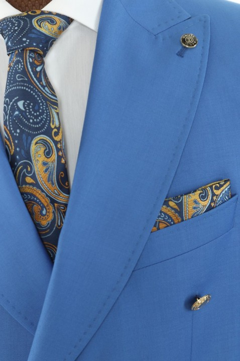 Light blue Double Breasted Men Suit