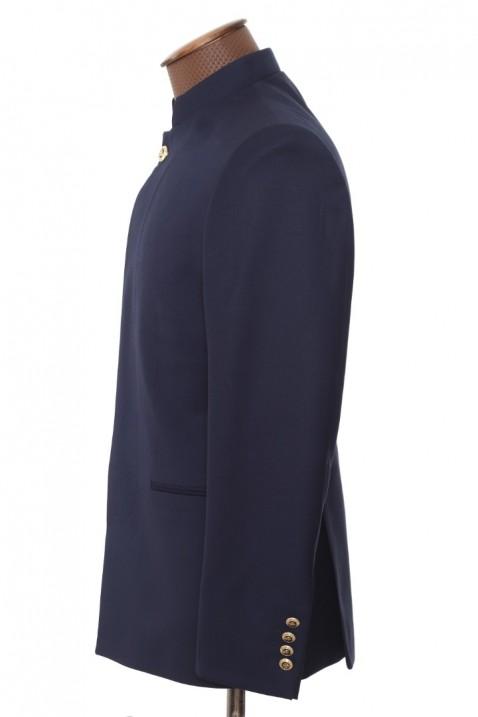 Navy blue high collar men's suit
