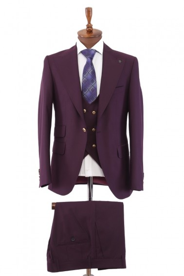 Purple Vest Men's Suit