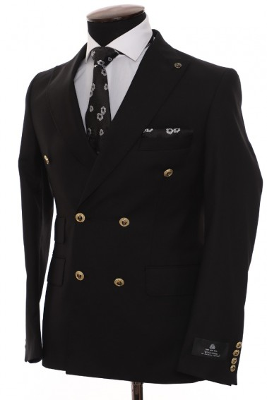 Black Double Breasted Men Suit