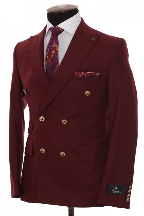 Burgundy color Double Breasted Men Suit