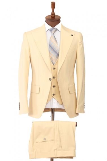Beige Vest Men's Suit