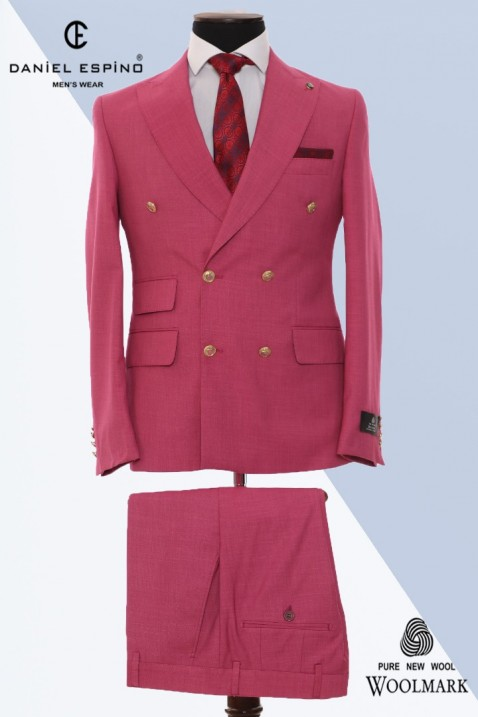 Pink Double Breasted Men Suit