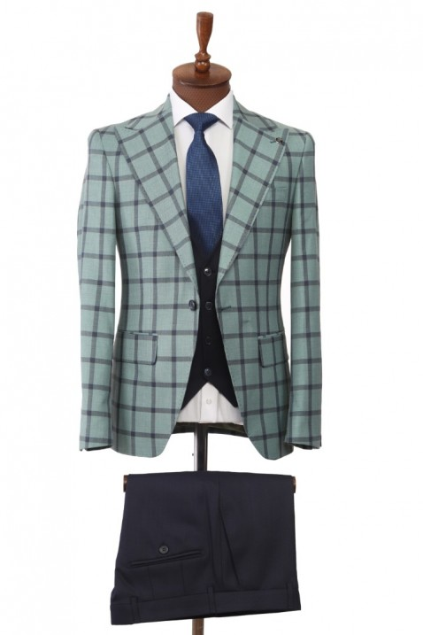 Green Combined Suit With Waistcoat