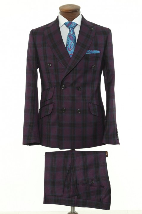 Purple Checkered Double Breasted Men Suit