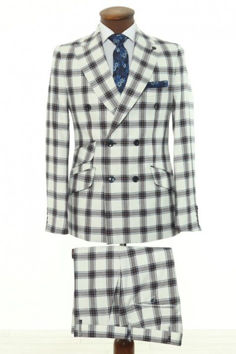 White Checkered Double Breasted Men Suit