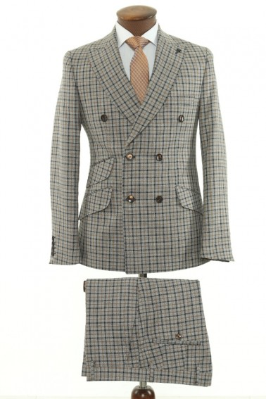 Beige Checkered Double Breasted Men Suit