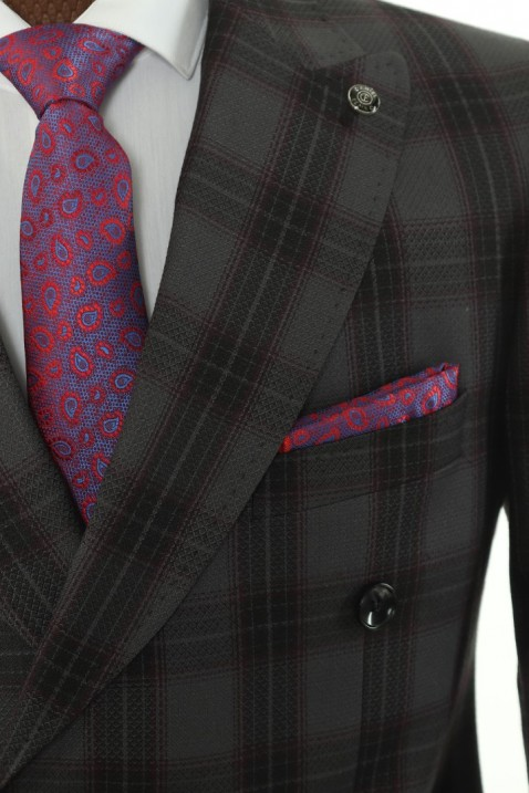 Dark grey Checkered Double Breasted Men Suit