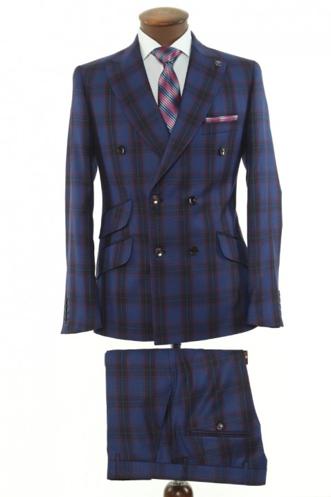 Navy blue Checkered Double Breasted Men Suit