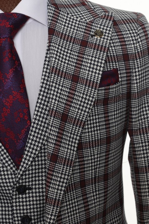 Maroon Checkered Men's Suit With Waistcoat