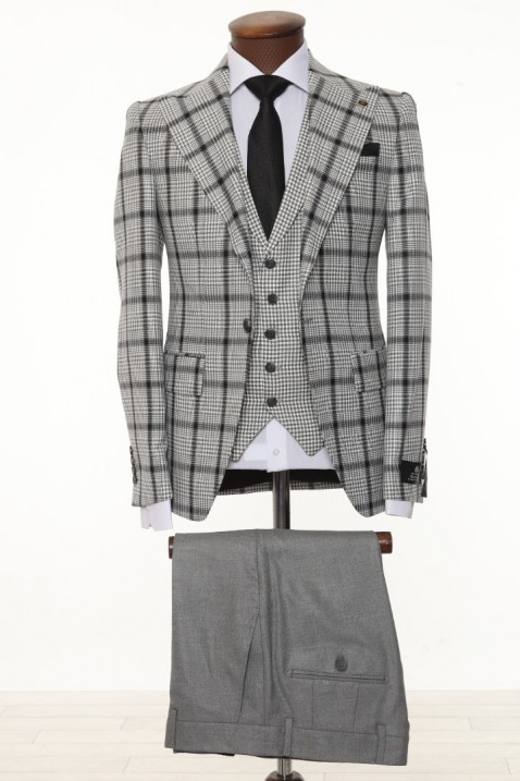 Grey Checkered Men's Suit With Waistcoat