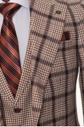 Orange Checkered Men's Suit With Waistcoat