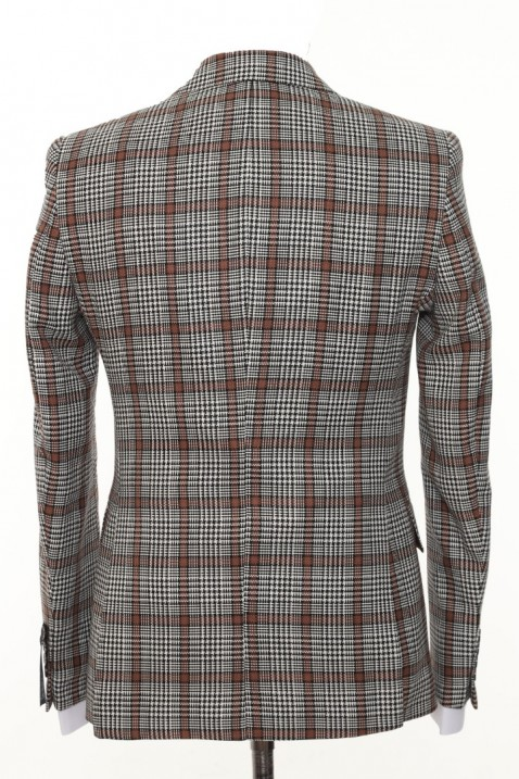 Brown Checkered Men's Suit With Waistcoat