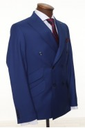 Blue Double Breasted Men Suit