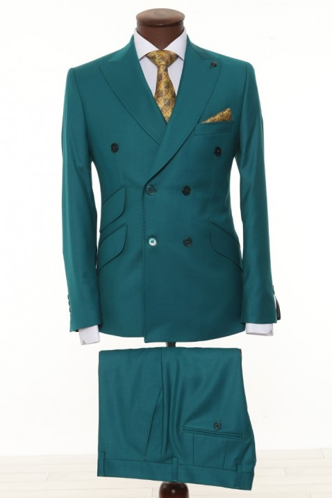 Green Double Breasted Men Suit