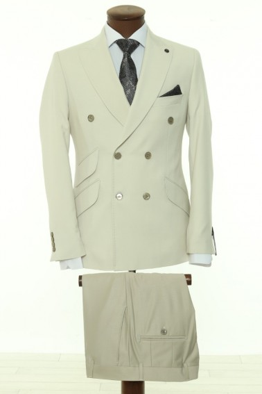 Cream Double Breasted Men Suit