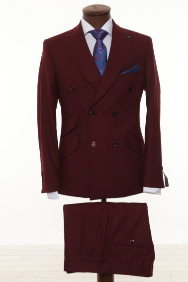 Maroon Double Breasted Men Suit