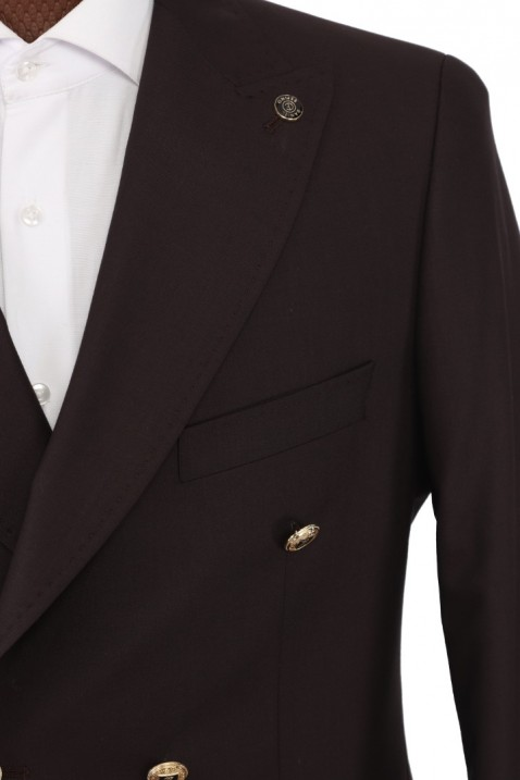 Brown Double Breasted Men Suit